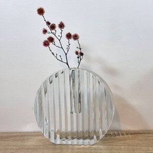 Heavy 1980s Ribbed Rippled Curvy Clear Glass Vase